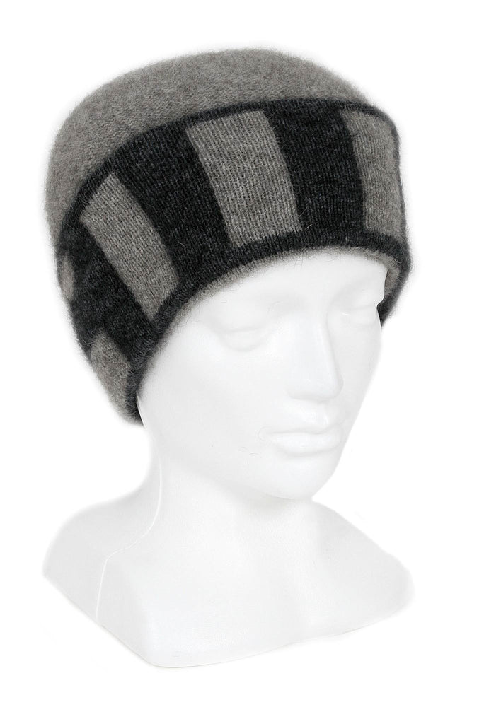Directional Stripe Beanie, 100% New Zealand Made Merino Wool & Possum Fur Knitwear