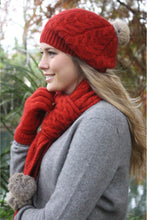 Load image into Gallery viewer, Lothlorian - Cable Beanie with Fur Pompom in Merino Wool and Possum Fur