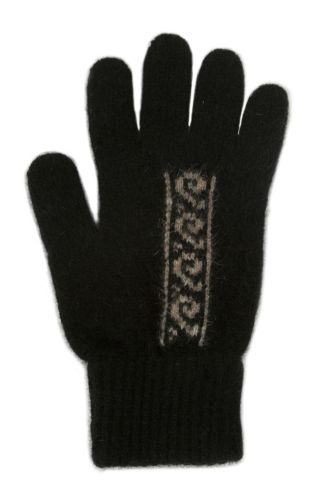 Black/Natural Merino Wool & Possum Fur Gloves