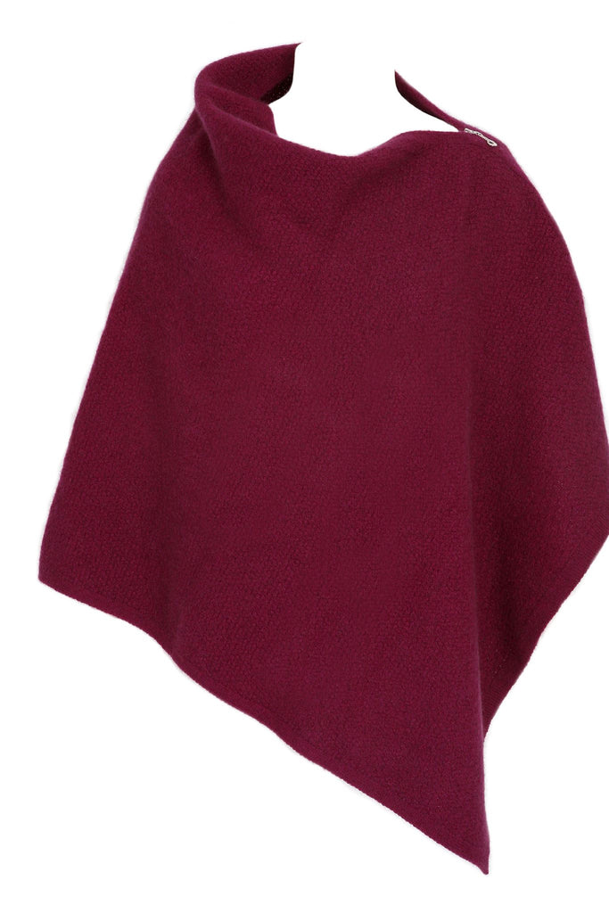 100% New Zealand Made Possum Merino Knitwear, Poncho,Berry