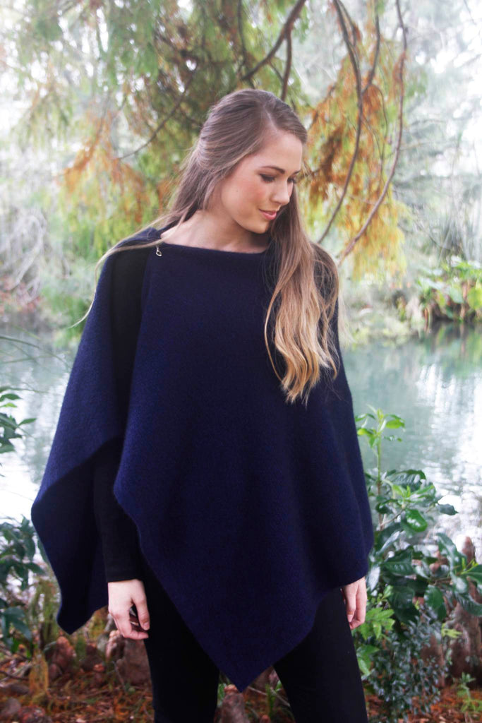 100% New Zealand Made Possum Merino Knitwear, Poncho, Midnight