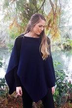 Load image into Gallery viewer, 100% New Zealand Made Possum Merino Knitwear, Poncho, Midnight