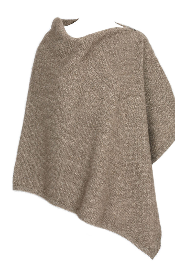 100% New Zealand Made Possum Merino Knitwear, Poncho Natural