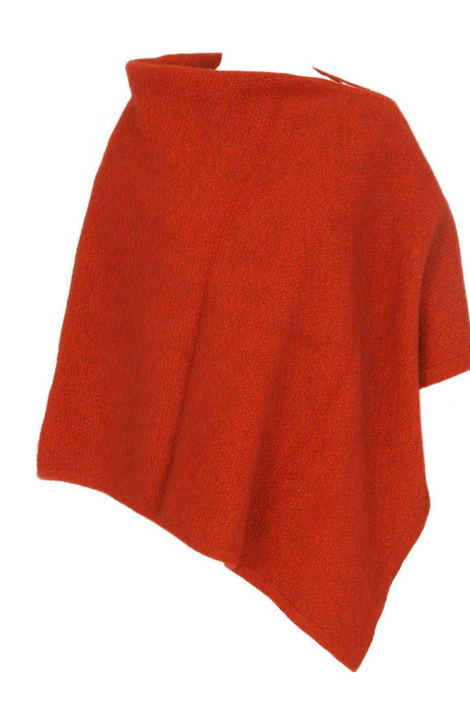 100% New Zealand Made Possum Merino Knitwear, Poncho Pumpkin