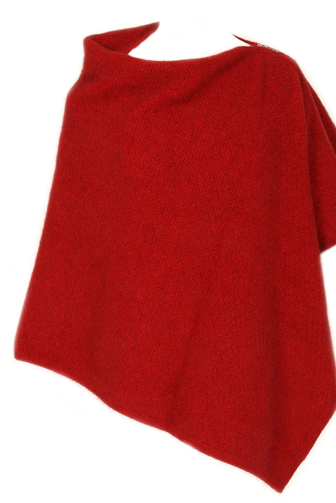 100% New Zealand Made Possum Merino Knitwear, Poncho Red
