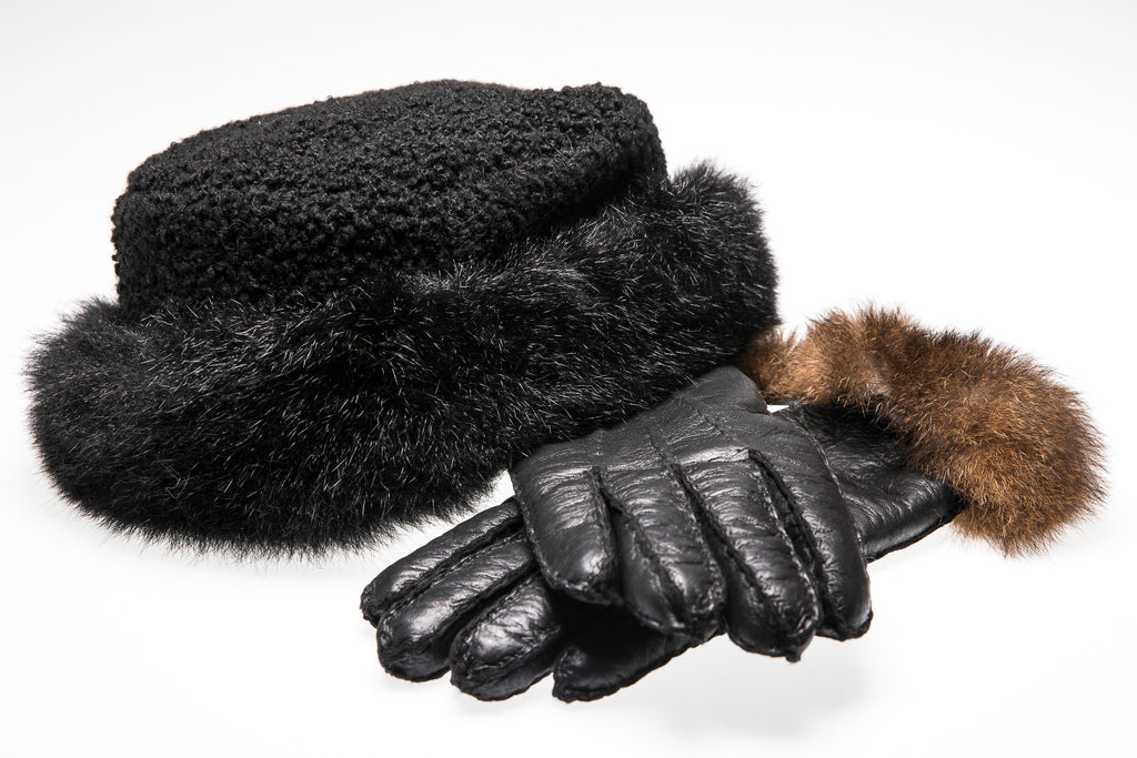 Fashion Fur Trim Lambskin Hat