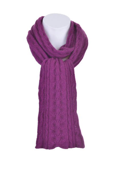 Cable Scarf in Berry,100% New Zealand Made Merino Wool & Possum Fur Knitwear
