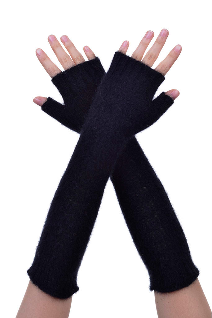 Fingerless Gloves in Black, 100% New Zealand Made Possum Fur & Merino Wool Knitwear