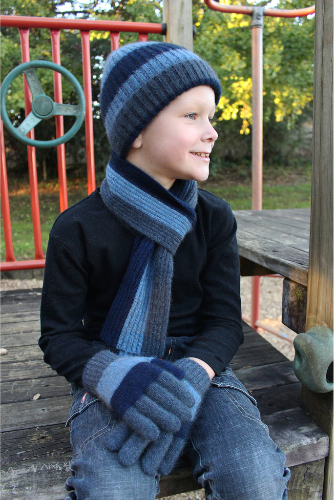Lothlorian - Child's Stripe Rib Scarf in Merino Wool and Possum Fur