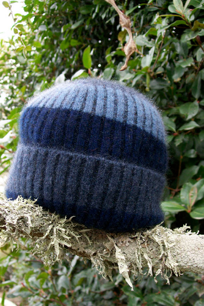 Lothlorian - Child's Stripe Rib Beanie in Merino Wool and Possum Fur