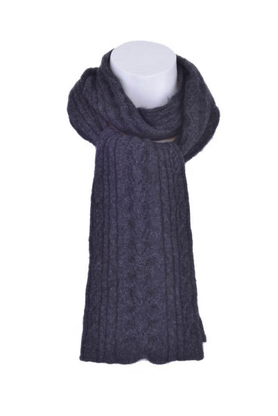 Cable Scarf in Charcoal, 100% New Zealand Made Merino Wool & Possum Fur Knitwear