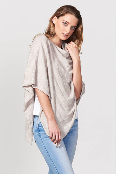 Poncho in Lt Sand, 100% New Zealand Made Merino Wool Knitwear