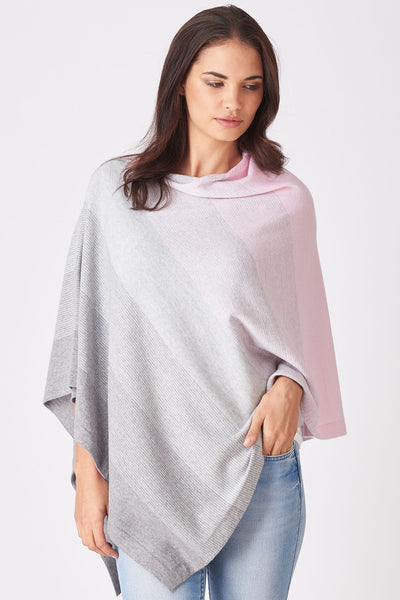 Graduated Stripe Poncho in Cherry Blossom & Silver,New Zealand made Merino Wool knitwear