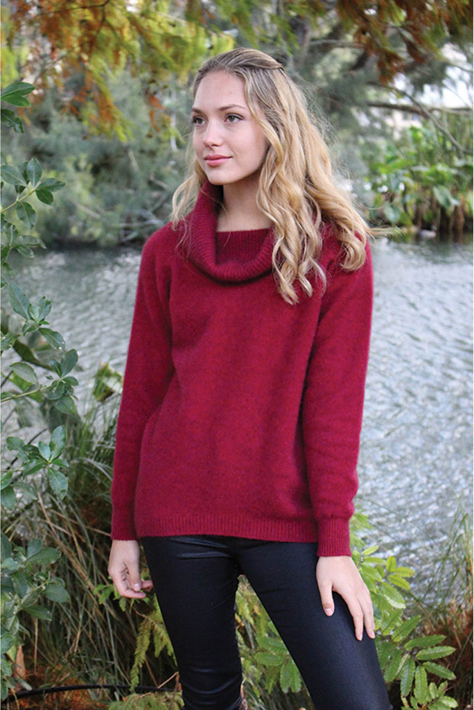 Lothlorian - Curved Hem Cowl Neck Sweater