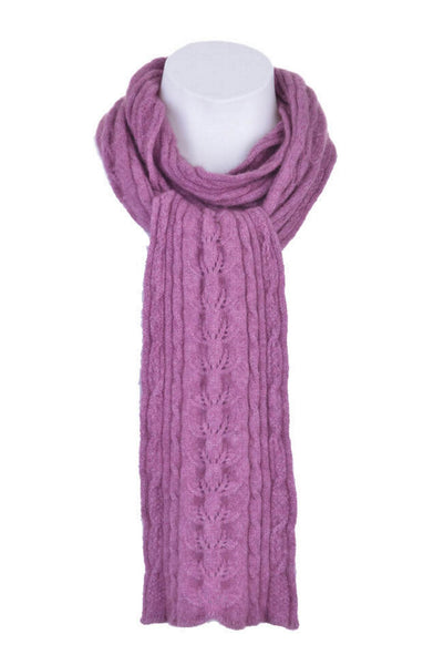 Cable Scarf in Heather, 100% New Zealand Made Merino Wool & Possum Fur Knitwear