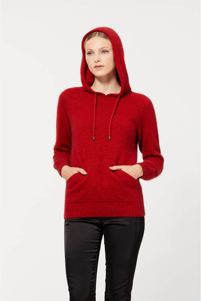 Possum Merino Hoodie in Red