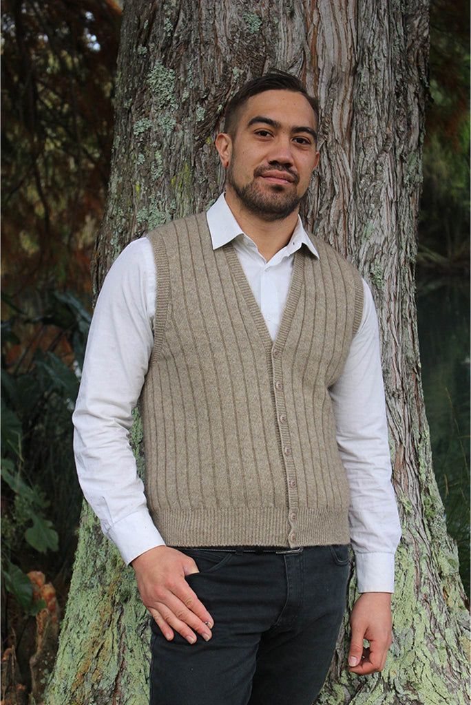 Mens Button Vest in Merino wool & Possum Fur