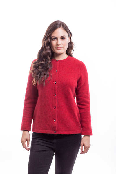 Merino Wool & Possum Fur Cardigan in Red
