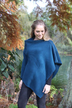 Load image into Gallery viewer, 100% Possum Merino Knitwear Poncho in Lagoon