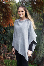 Load image into Gallery viewer, 100% Possum Merino Knitwear Poncho in Silver