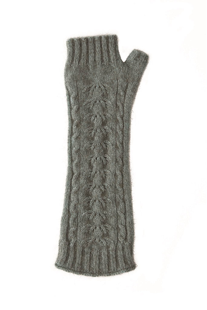 Fingerless Gloves In Mint, 100% New Zealand Made Possum Fur & Merino Wool Knitwear
