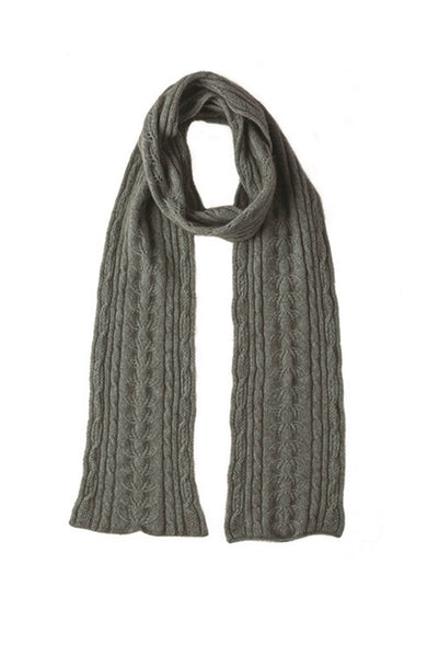 Cable Scarf in Mint, 100% New Zealand Made Merino Wool & Possum Fur Knitwear