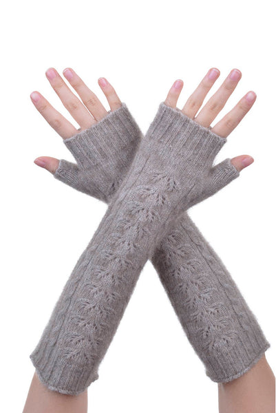 Fingerless Gloves in Mocha,  Possum Fur & Merino Wool Knitwear