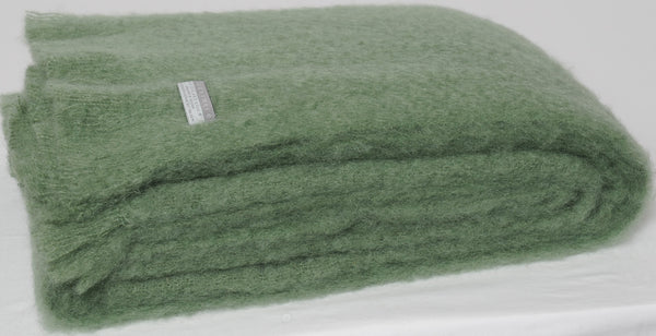 Olive, New Zealand made Mohair Throw Blanket