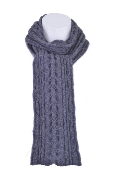 Cable Scarf in Pewter, 100% New Zealand Made Merino Wool & Possum Fur Knitwear