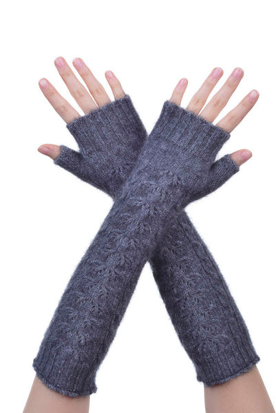 Fingerless Gloves in Pewter, 100% New Zealand Made Possum Fur & Merino Wool Knitwear