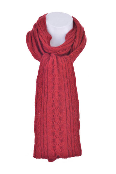 Cable Scarf in Red, 100% New Zealand Made Merino Wool & Possum Fur Knitwear