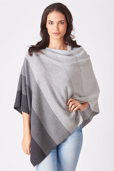 Graduated Stripe Poncho in Silver & Charcoal, New Zealand made Merino Wool Knitwear