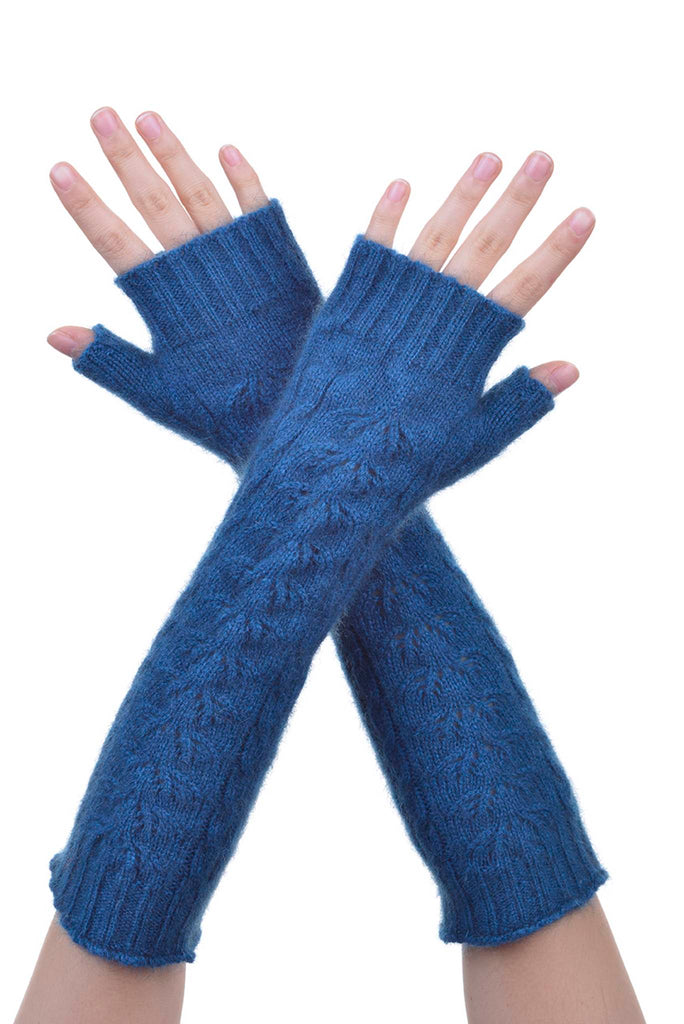 Fingerless Gloves in Teal, 100% New Zealand Made Possum Fur & Merino Wool Knitwear