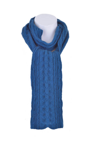 Cable Scarf in Teal, 100% New Zealand Made Merino Wool & Possum Fur Knitwear