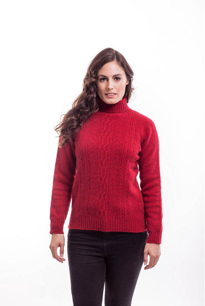 Sweater in Red, 100% New Zealand Made Merino Wool & Possum Fur Knitwear
