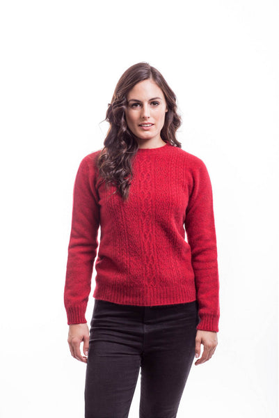 Crew Neck Jersey in Red, 100% New Zealand Made Merino Wool & Possum Fur Knitwear