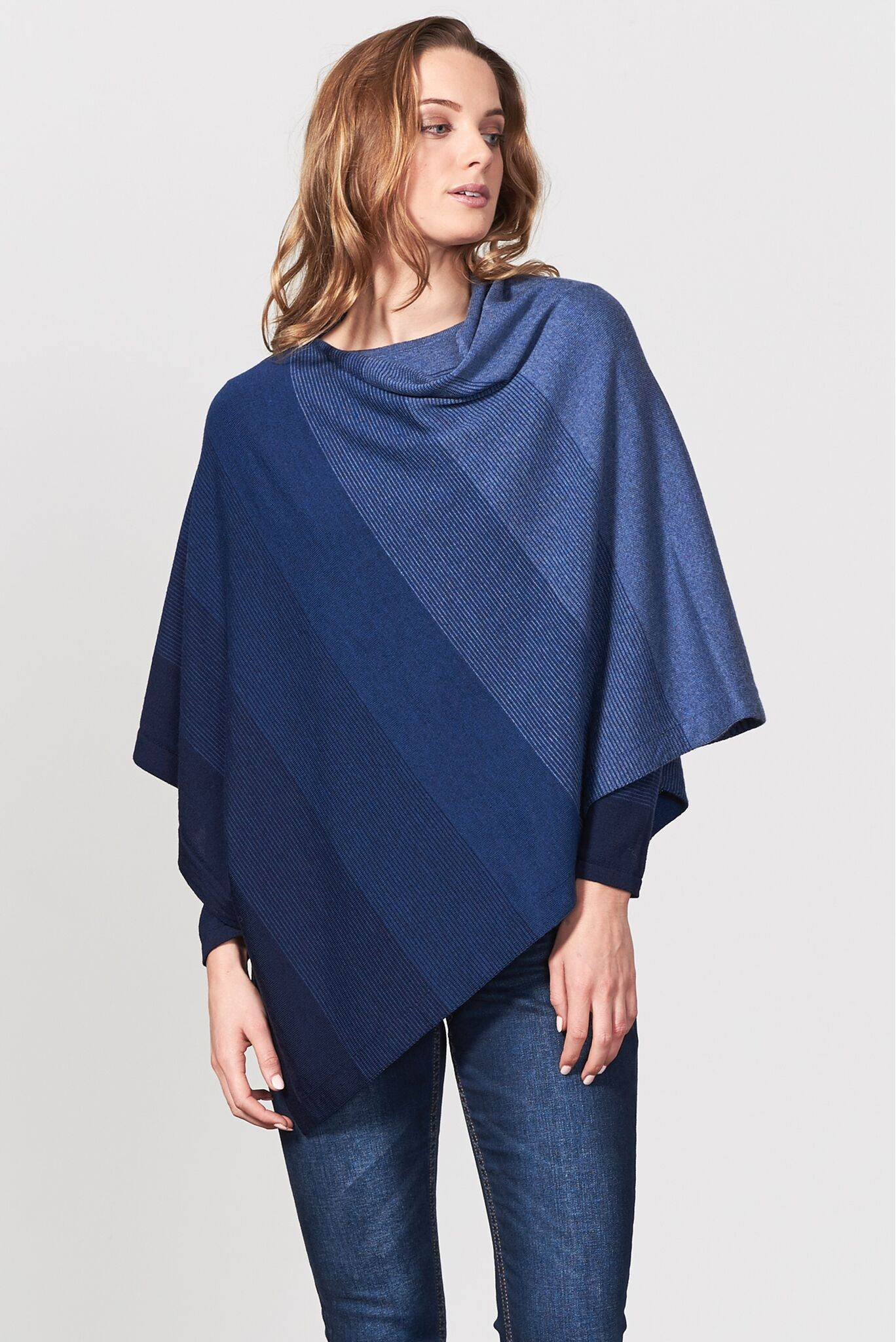 8481a66f4 Graduated Stripe Poncho in Navy, New Zealand made Merino Wool knitwear ...