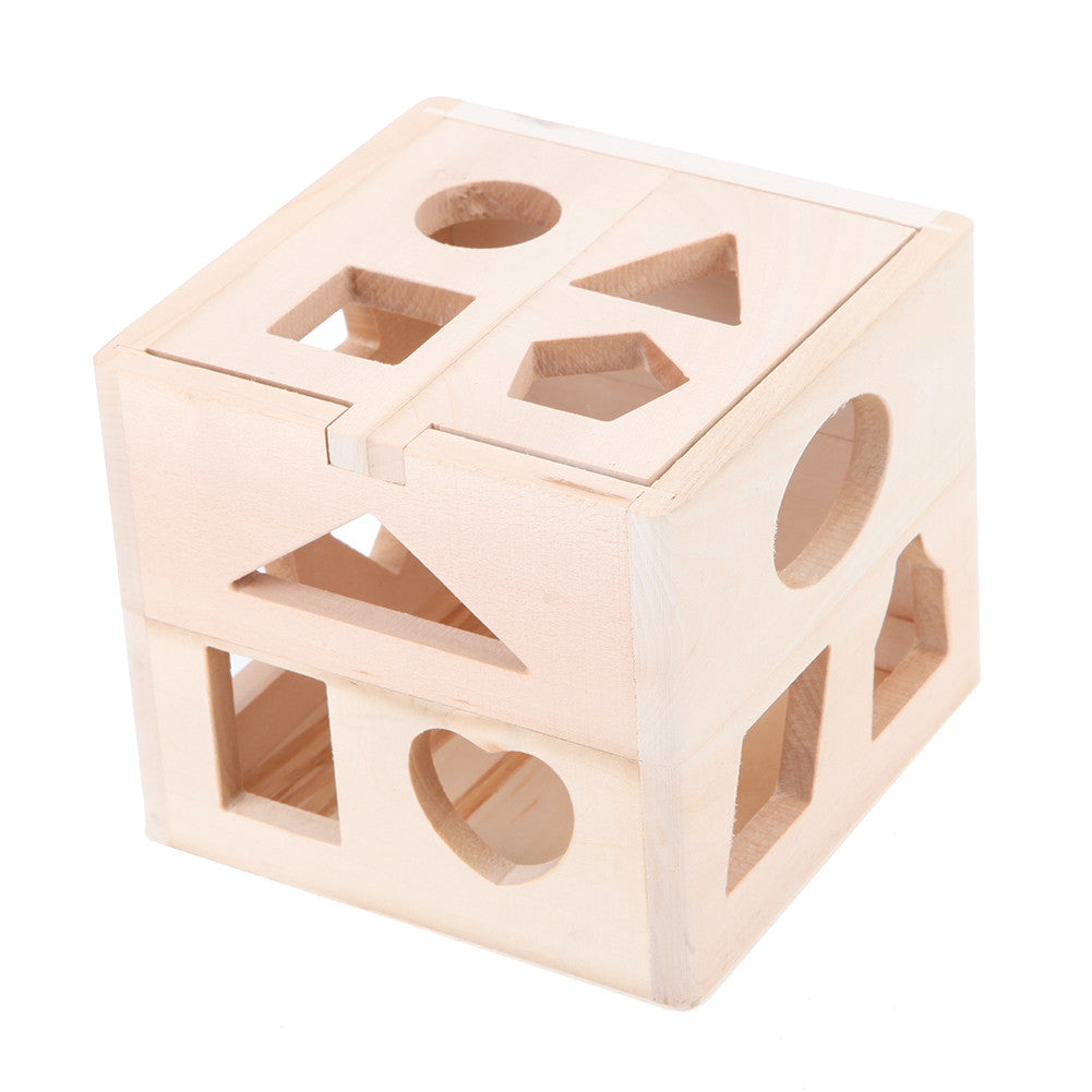13 Holes Wooden Toys Intelligence Box for Shape Sorter Cognitive Montessori