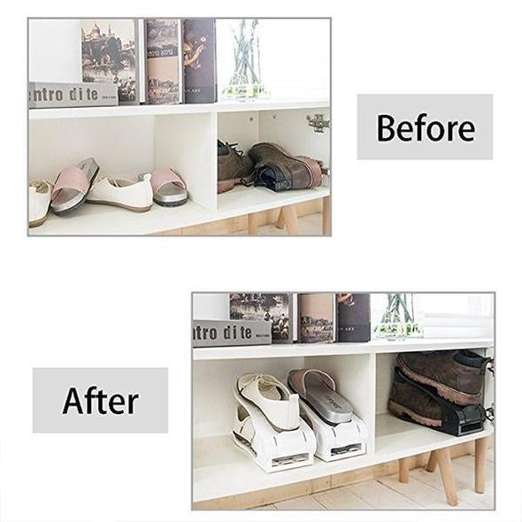 (Factory Outlet 70% OFF Today) 8 Pcs !!! Double Deck Shoe Rack - A Space Saving Storage Solution!