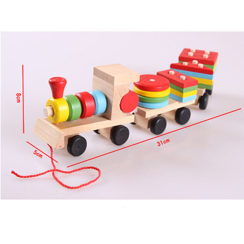 Baby Toys Kids Trailer Wooden Train Montessori