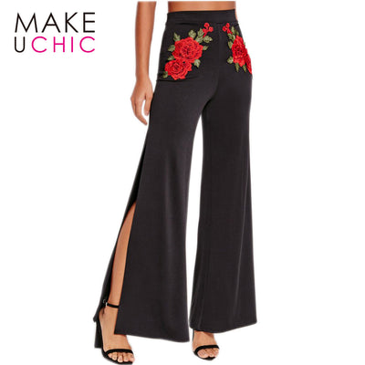 Floral Embroidery Black Pants Women