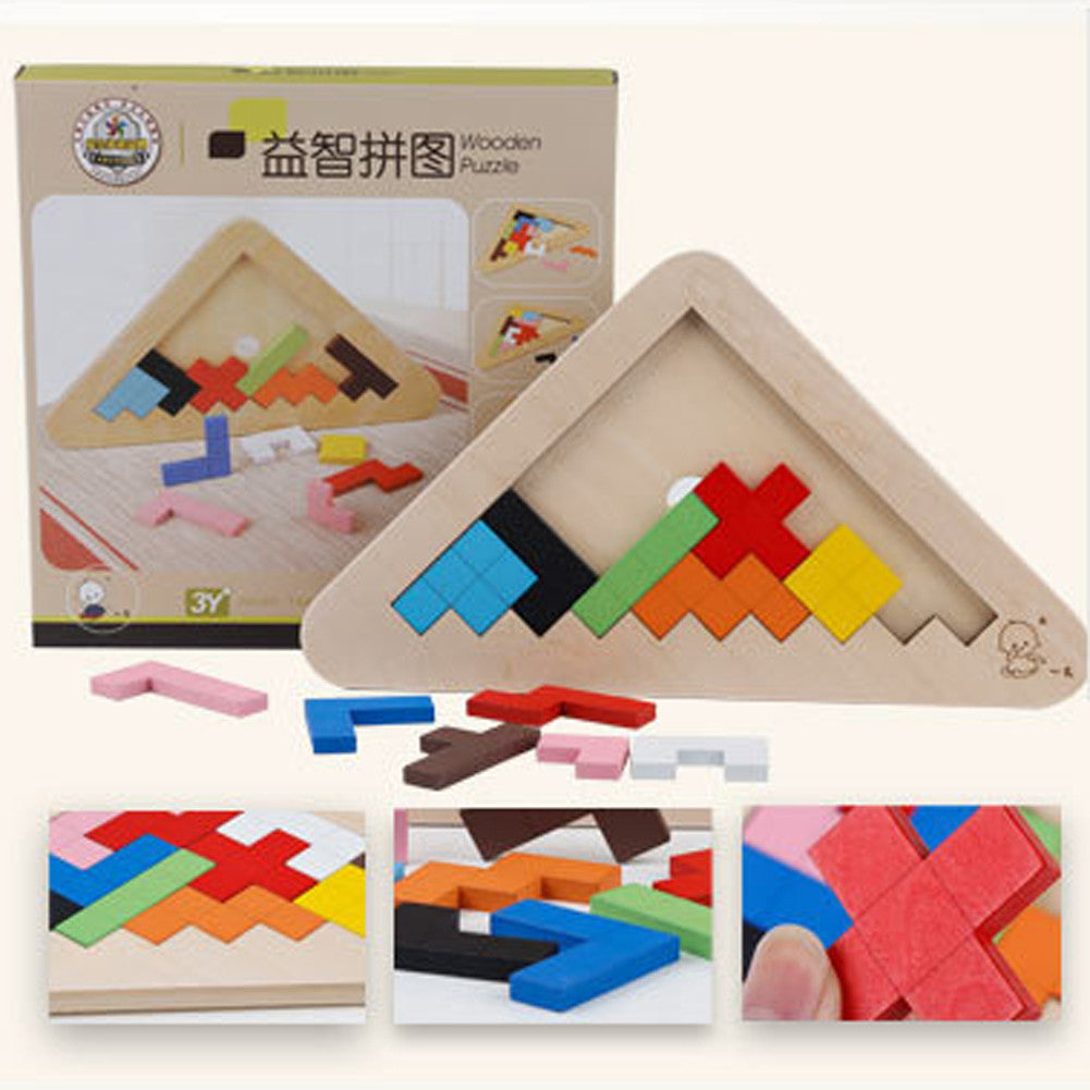 Wooden Toys Baby Kids Geometry Montessori Educational Toys Tangram