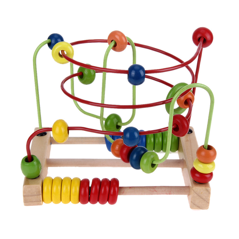 Wooden Toys Counting Circles Bead Abacus Wire Maze Wire Roller Coaster Baby Kids Children Montessori Educational Math Toy