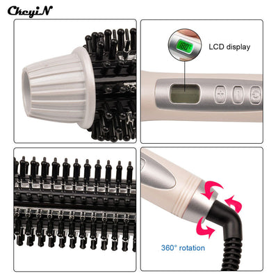 32mm Ceramic Anion Hair Curler Comb Hairbrush LCD