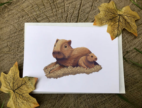 Capybara Blank Greeting Card