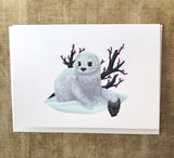 Winter Ermine Blank Greeting Card