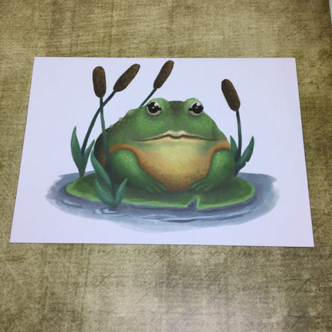 Bull Frog Blank Greeting Card