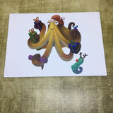 Christmas Octopus Blank Greeting Card