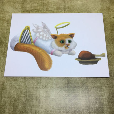 Christmas Angel Cat Blank Greeting Card