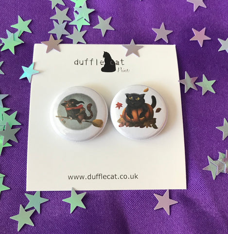 Pumpkin Cat and Witch Cat Mini Magnet Set